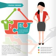 Basket puzzle and character info graphic design,clean vector