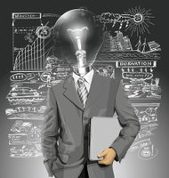 Vector Lamp Head Businessman With Laptop