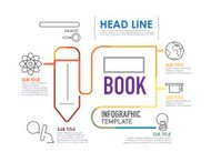 Flat linear Infographic Education template.Vector Illustration.