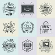 Happy Teachers` Day assorted design insignias logotypes set 1.
