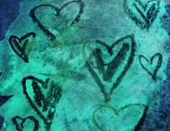 Hearts on a green blue watercolor and ink background
