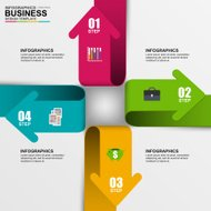 Abstract 3D digital business arrow Infographic