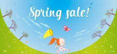Spring sale banner with girl and butterfly net