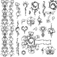 Floral ornament, black and white