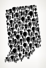 Indiana State on Vector Lightbulb Pattern Background