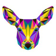 Abstract bright colored polygonal triangle geometric deer isolated on white