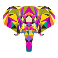 Abstract bright colored polygonal triangle geometric elephant isolated on white