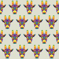 Abstract bright colored polygonal triangle geometric giraffe seamless pattern background