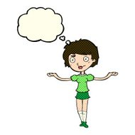 cartoon woman spreading arms with thought bubble