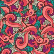 vector seamless hand drawn abstract swirl floral background