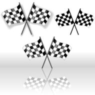 Checkered Flags Crossed Drop Shadow Reflection Symbol