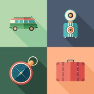 Set of car trip flat square icons with long shadows.