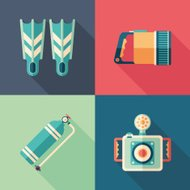 Set of diving flat square icons with long shadows.