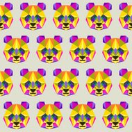 Abstract bright colored polygonal triangle geometric panda seamless pattern background