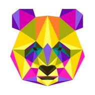 Abstract bright colored polygonal triangle geometric panda isolated on white