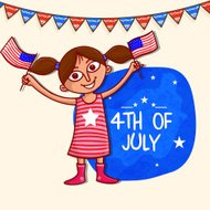 Cute girl with flag for American Independence Day celebration.