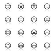 Face flat icons with reflection