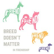 Dog breed silhouette with friendship concept text