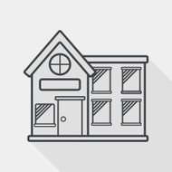 Building house flat icon with long shadow, line icon
