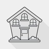 Building flat icon with long shadow, line icon