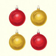 Four Red and Gold Christmas Ornaments