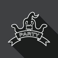 Halloween party flag flat icon with long shadow, line icon