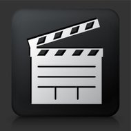 Black Square Button with Film Clapper Board Icon