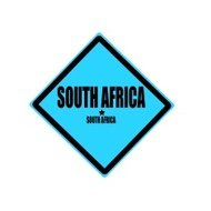 South africa black stamp text on blue background