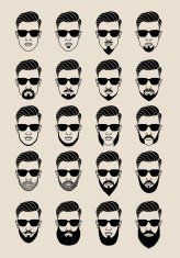hipster faces with beard, user, avatar, vector icon set
