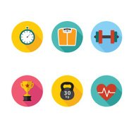 Healthy lifestyle flat round icon set. Vector illustration