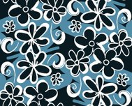 White Cartoon Flowers - Seamless pattern