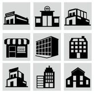 Buildings stores and home icon set.