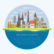 Illustration of flat design composition with famous european wor