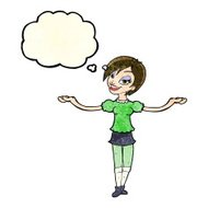 cartoon woman making open arm gesture with thought bubble