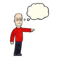 cartoon old man gesturing Get Out! with thought bubble