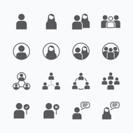 people Icon vector flat line icons set concept.