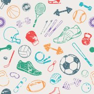 Sport Equipment Grunge Background, Seamles Pattern, Icons