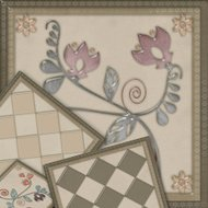 Floral pattern with flowers tile background glass effect