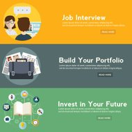 Job interview, portfolio and future investment web banner.