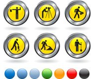 Construction workers royalty free vector art on metallic button