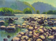 mountain river, Oil painting
