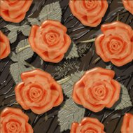 Roses seamless pattern background glass effect