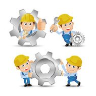 People Set - Profession - Builder with gear wheel