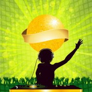 female DJ with disco ball and banner