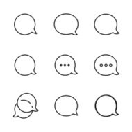 Contour Talk bubble comment and message logo icons set