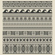 Border decoration set. Greek ethnic patterns