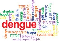 Dengue multilanguage wordcloud background concept