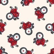 wheelchair , cartoon seamless pattern background