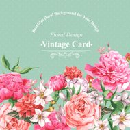 Vintage Watercolor Greeting Card with Blooming Flowers. Roses, Wildflowers and