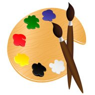 Wooden palette with paints and brushes